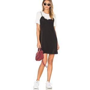 Likely Kinney black lace trim slip mini dress